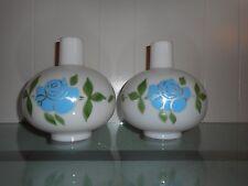 Pair (2) Milk Glass Kerosene GWTW Lamp Chimneys Round Globes w/Blue Flowers