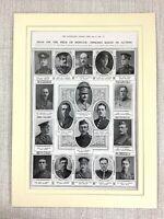 1915 WW1 Aufdruck Death Notice Britisch Offiziere Getötet IN Action Krieg Hero