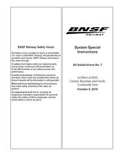 BNSF Special System Instructions #7 OCT 05 2016 ETT SSI LATEST!