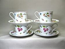 Georges Briard . Set Of 4 Garden Of Eden . Porcelain Cups And Saucers