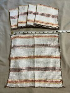 """5 Vintage WAFFLE Weave Cotton Striped Dish Cloths Rags For Kitchen 11"""" X 11"""""""
