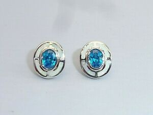 Ladies Art Deco Sterling 925 Silver Opal & Aquamarine Target Design Earrings
