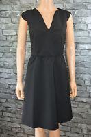 Women's Elegant Plain Black Tailored V-neck Pencil Skater Dress Size 12