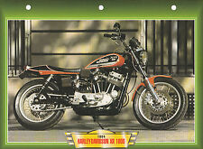 CARTE FICHE MOTO   HARLEY DAVIDSON  XR 1000 .  NEUVE