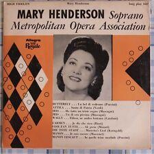 DISCO 33 GIRI - MARY HENDERSON SOPRANO METROPOLITAN OPERA ASSOCIATION