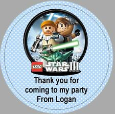 24 x 40mm Personalised Round Stickers Star Wars Lego Blue Labels Party