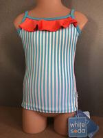 BNWT Girls Size 8 White Soda Brand Aqua & White Stripe Tankini Swim Top UPF 50+