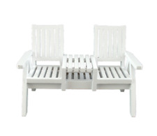 Melody Jane Doll House Miniature Garden Furniture White Wood Loveseat Twin Chair