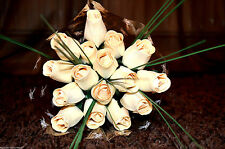 Roses Bouquet Wooden Flowers Wood Rose Artificial Flowers Wedding Birthday Cream