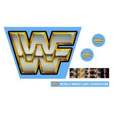 WWF/WWE Mattel WWF Original Logo Blue Custom Wrestling Ring Sticker Set