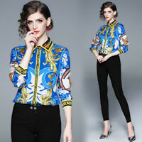 2019 spring women's new style printed shirt temperament fashion turn-down collar