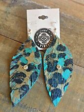 Leopard Print Turquoise Feather Earrings reLoved Leather Handcut Boho Gypsy
