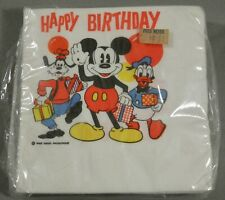 VINTAGE DISNEY MICKEY MOUSE GOOFY DONALD DUCK HAPPY BIRTHDAY PARTY NAPKINS