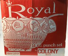Vintage Colony Amber Royal Drape Glass Punch Bowl w/11 Matching Cups