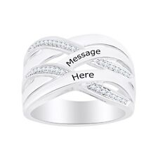 Gemstone Personalize Engrevable Cross Band Ring 14k Gold Ove Sterling Silver