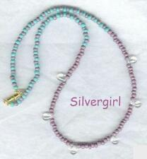 AB Purple Turquoise Green Clear Teardrop Bead Necklace