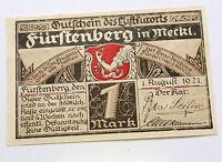 FÜRSTENBERG NOTGELD 1 MARK 1921 EMERGENCY MONEY GERMANY BANKNOTE (7277)