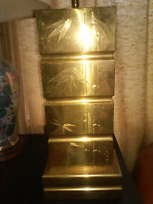 MID CENTURY ORIENTAL BAMBOO ENGRAVED BRASS LAMP SIGNED AND INSCRIBED