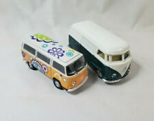 Lot of 2 1972 Volkswagen Diecast Metal Bus Vans - 1 Welly - Officially Licensed