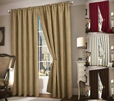 Thermal Curtains Plain Heavy Chenille Fabric Tape Top Ready Made Curtains Pair