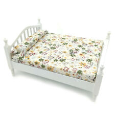 Dollhouse Bedroom Wooden Floral Double Bed 1:12 Miniature Furniture Queen Bed