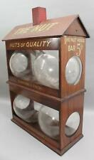 RARE Antique NUT HOUSE Country Store 5c Candy Nut Jar Display & Sign