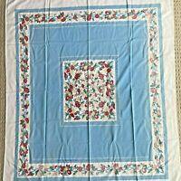 "Vintage Cotton Tablecloth Blue & White Floral Border Print 51"" X 43"" Rectangle"