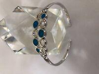 Blue  Fire Opal Topaz  Gemstone  Sterling Silver Open Bangle Bracelet 18cm