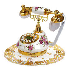 Retro Vintage Antique Style Floral Ceramic Home Decor Desk Telephone Phone C2U5