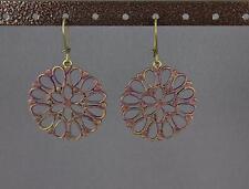 Dark Purple bronze earrings dangle filigree medallion cut out circle lightweight