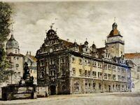 Carl Zwicker - schicke Farb-Radierung um 1920: GOTHA - Ansicht Rathaus & Brunnen
