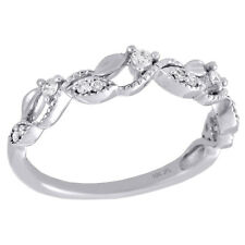 Flower Stackable Right Hand Ring 1/6 Ct. 10K White Gold Women's Diamond Leaf /
