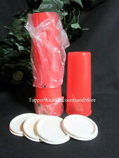 Tupperware NEW Set 4 16 oz Watermelon Red Stacking Tumblers Cream White Seals
