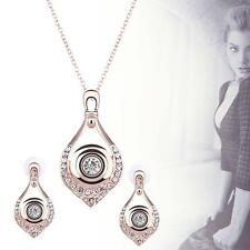 New Fashion Jewelry Rose gold Geometric diamond Necklace Earrings jewelry set DS