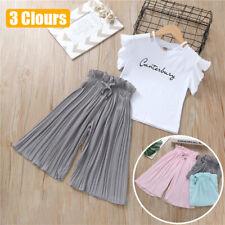 Children Kids Baby Girls Letter T Shirt Tops Ruffle Loose Pants 2PCS Outfits SET