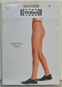 $67 NEW Wolford SAIL NET FISHNET TIGHTS Matte Finish Petal Pale Pink Rose S