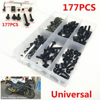 177PCS Black Fairing Bumpers Panel Bolts Kit Fastener Clips Screw for Motorcycle
