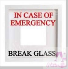 IN CASE OF EMERGENCY BREAK GLASS VINYL DECAL STICKER FOR IKEA RIBBA BOXFRAME