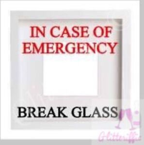 IN CASE OF EMERGENCY BREAK GLASS VINYL DECAL STICKER FOR IKEA HOVSTA BOXFRAME
