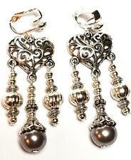 Silver Chandelier Grey Pearl Clip On Earrings Glass Bead Antique Vintage Style
