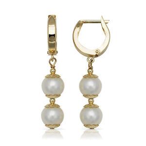 Solid 14K Yellow Gold Genuine Pearl Huggie Hoop Earrings w/ Gift Box