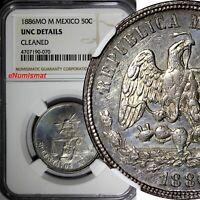 Mexico SECOND REP.Silver 1886 Mo M 50 Centavos NGC UNC DETAILS VERY RARE KM#407