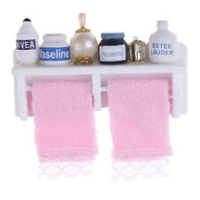 1/12 casa delle bambole in miniatura kit da bagno in legno a mensola mobile