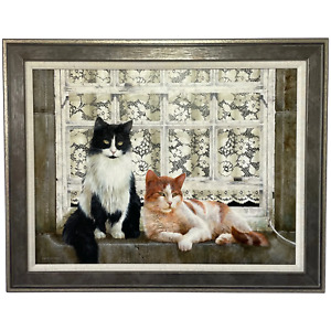 """Fine Oil Painting Cats Sitting  """"Watching The World Go By"""" Signed David C Lyons"""
