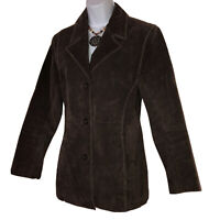 WILSONS LEATHER Womens Brown Suede Blazer Jacket Size S Small