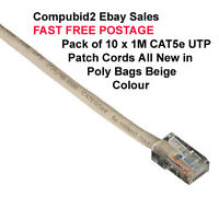 WHOLESALE PACK 10x Cat5e UTP Patch Cord 1m Beige Ethernet Cables RJ45 to RJ45