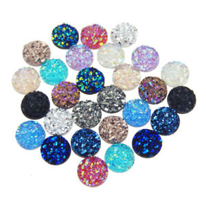 100 pcs Mix Flat Back Faux Druzy Cabochons Resin For Crafts DIY Jewelry Making