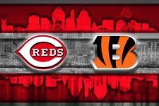 Cincinnati Sports Poster Cincinnati Reds Cincinnati Bengals  12x18in Free Ship
