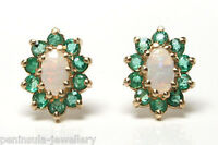 9ct Gold Opal and Emerald Cluster Studs Earrings Gift boxed Made in UK Birthday