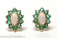 9ct Gold Opal and Emerald Cluster Studs Earrings Gift boxed Made in UK Christmas